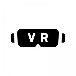 VRゴーグルの白黒シルエットイラスト02