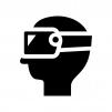VRで遊ぶ人の白黒シルエットイラスト02