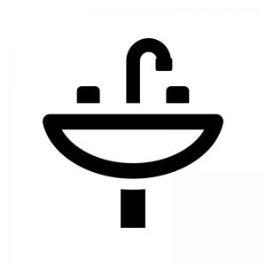 洗面台の白黒シルエットイラスト05