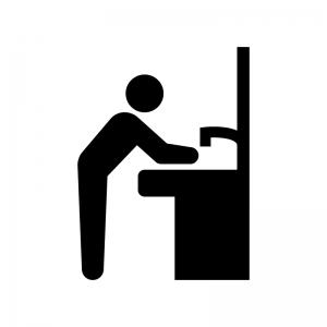 洗面所で手洗いする人の白黒シルエットイラスト