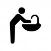 洗面所で手洗いする人の白黒シルエットイラスト02