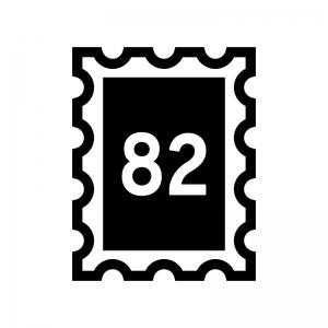 82円切手の白黒シルエットイラスト