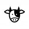 牛の白黒シルエットイラスト
