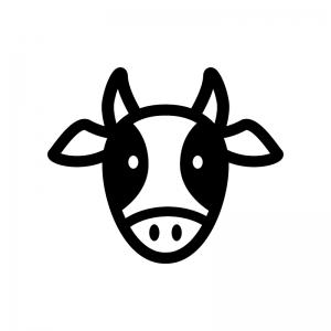 牛の白黒シルエットイラスト02