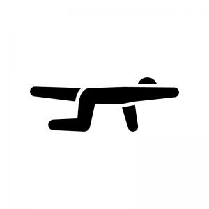 腕と足のストレッチの白黒シルエットイラスト