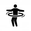 フラフープで遊ぶ人の白黒シルエットイラスト