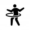 フラフープで遊ぶ人の白黒シルエットイラスト02