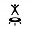トランポリンで遊ぶ人の白黒シルエットイラスト
