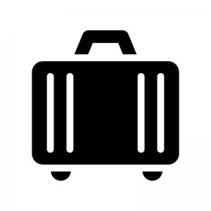 スーツケースの白黒シルエットイラスト02