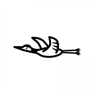 鶴の白黒シルエットイラスト02