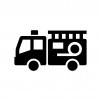 消防車の白黒シルエットイラスト