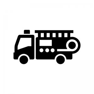 消防車の白黒シルエットイラスト02