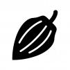 カカオ豆の白黒シルエットイラスト