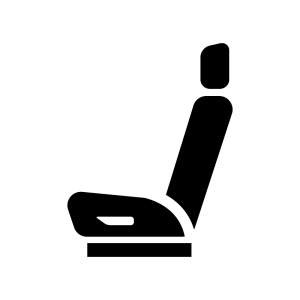 車のシートの白黒シルエットイラスト