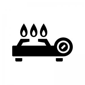 火が点いたカセットコンロの白黒シルエットイラスト