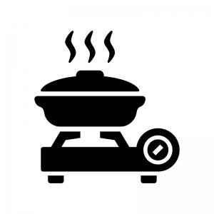 鍋とカセットコンロの白黒シルエットイラスト
