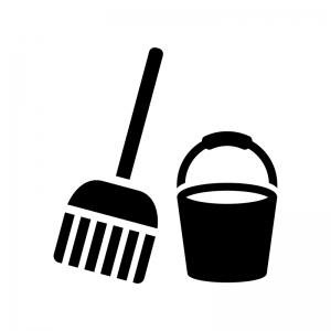 モップとバケツの白黒シルエットイラスト
