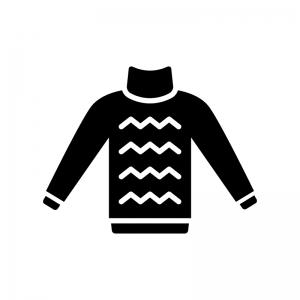 ハイネックのセーターの白黒シルエットイラスト