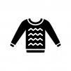 服・セーターの白黒シルエットイラスト