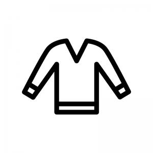 Vネックのアウターの白黒シルエットイラスト02