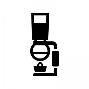 サイフォンコーヒーの白黒シルエットイラスト