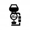 サイフォンコーヒーの白黒シルエットイラスト02