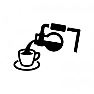 サイフォンコーヒーで注ぐ白黒シルエットイラスト