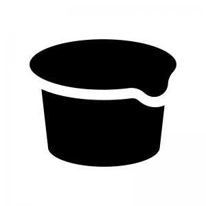 カップアイス・ヨーグルトの白黒シルエットイラスト
