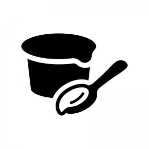 カップアイス・ヨーグルトの白黒シルエットイラスト02