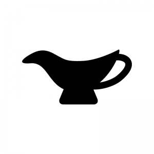 カレーなどのソースポットの白黒シルエットイラスト