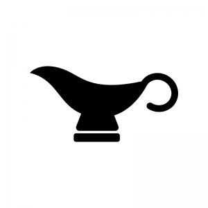 カレーなどのソースポットの白黒シルエットイラスト02