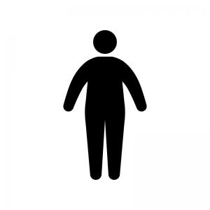 太っている人のシルエット 無料のaipng白黒シルエットイラスト