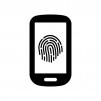 スマホの指紋認証の白黒シルエットイラスト