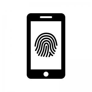 スマホの指紋認証の白黒シルエットイラスト02