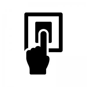 指紋認証の白黒シルエットイラスト02