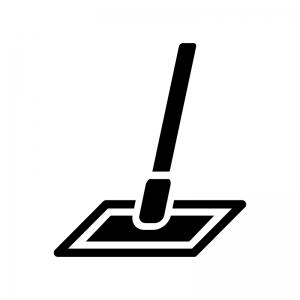フローリングモップの白黒シルエットイラスト