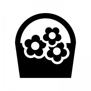 ブーケの白黒シルエットイラスト