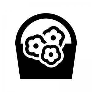 ブーケの白黒シルエットイラスト02