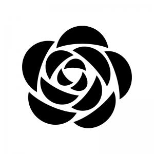 バラの花の白黒シルエットイラスト