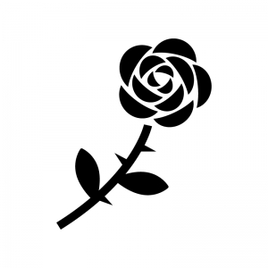 一輪のバラの白黒シルエットイラスト