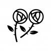 二輪のバラの白黒シルエットイラスト