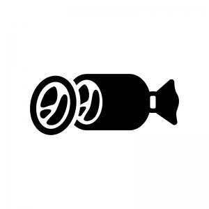 ハムの白黒シルエットイラスト02