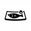 焼き魚の白黒シルエットイラスト
