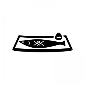 焼き魚の白黒シルエットイラスト02