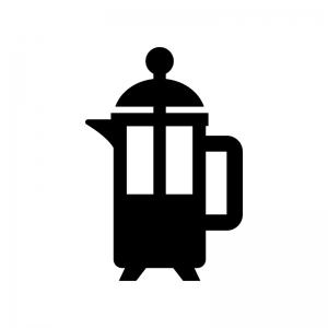 フレンチプレスコーヒー・紅茶の白黒シルエットイラスト