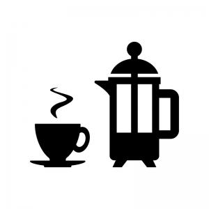 フレンチプレスコーヒー・紅茶の白黒シルエットイラスト02