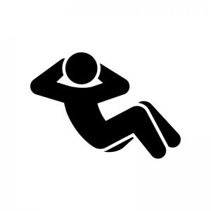 腹筋運動のシルエット 白黒イラスト