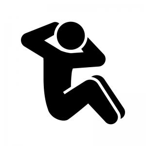 腹筋運動のシルエット02 白黒イラスト
