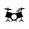 楽器・ドラムの白黒シルエットイラスト