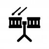 楽器・ドラムの白黒シルエットイラスト02